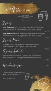 Speisekarte mit Gyrosgerichten und Kürbissuppe