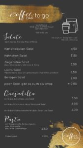 Speisekarte mit Salat, Quesadilla und Pasta